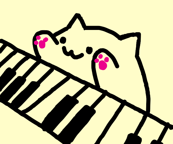 that meme of the cartoon cat playing piano