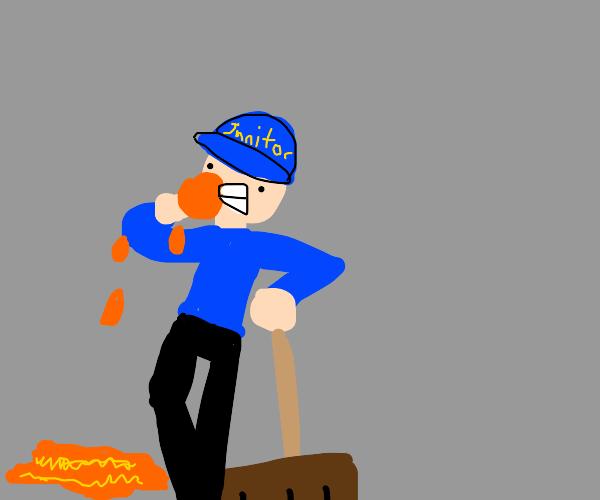 Janitor eating an Orange
