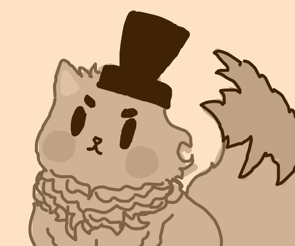 Strawberry-red cat using a scarlet-red tophat