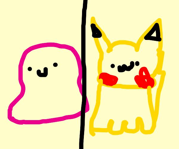 Ditto transforms in a Pikachu