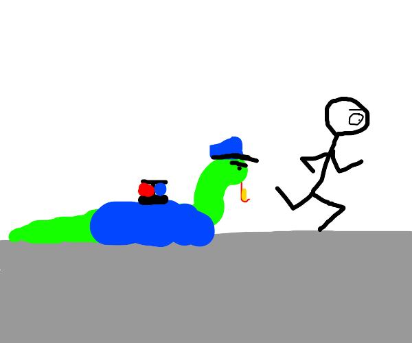 stickman running from snake cop
