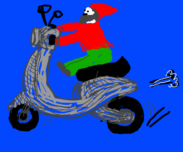 Gnome on a moped