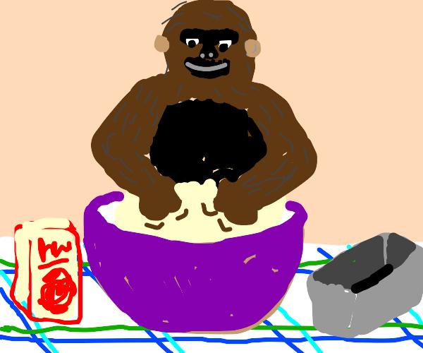 some gorilla thing making bread