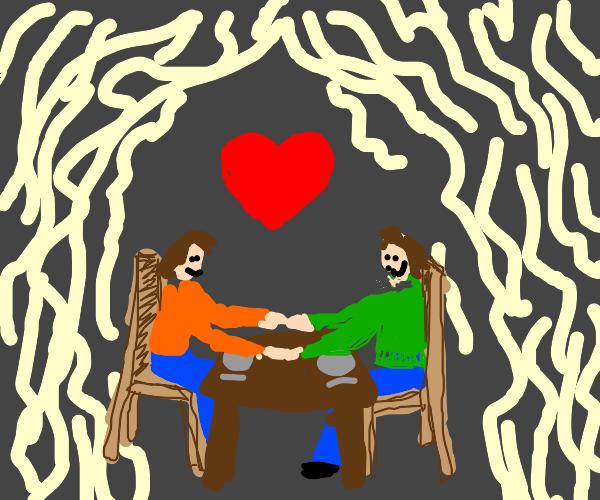 romantic date inside noodles