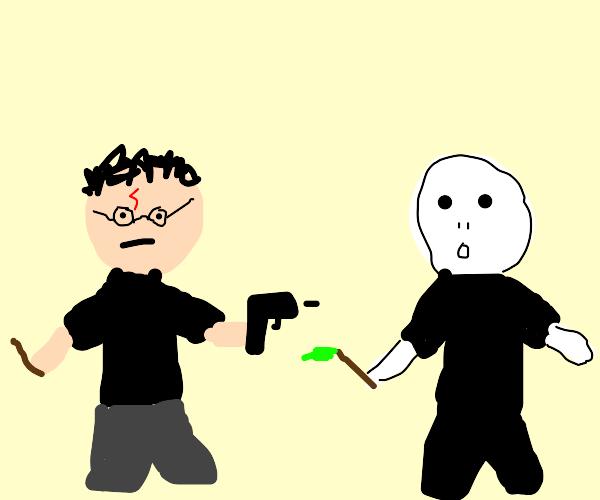 harry has enough of wizard crap, he uses gun!