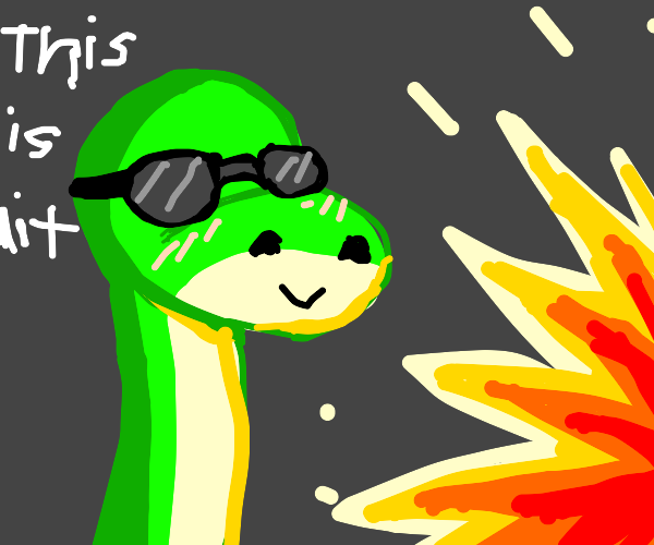 Blind dinosaur with cool glasses