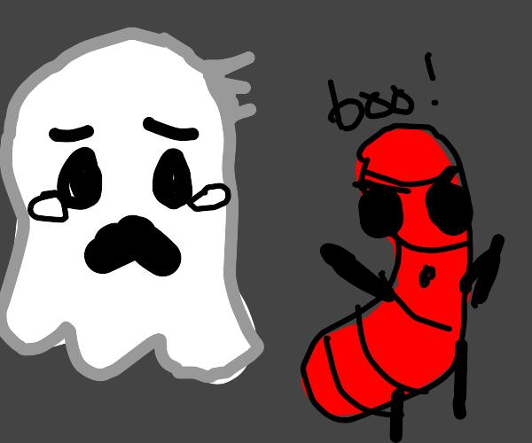 Evil hotdog scares ghosts