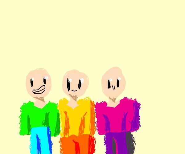 3 happy bald kids