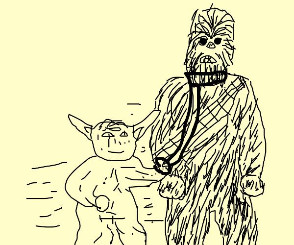 Yoda walks Chewbacca