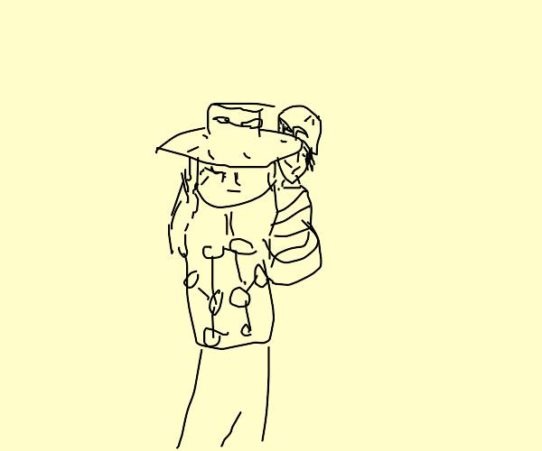 Gyro giving Johnny a piggyback ride