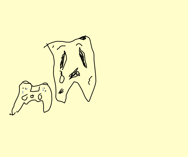 a depressed tooth looking at a controller