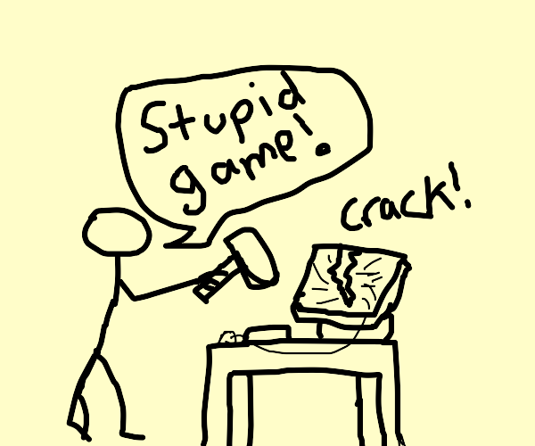 Rage gamer crashes computer screen