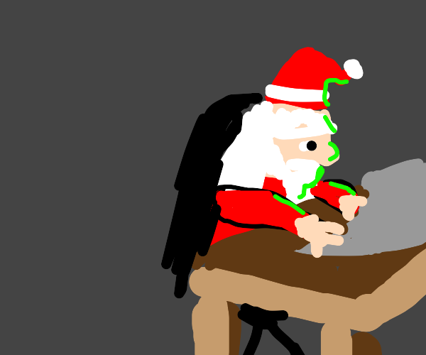 Santa coding a game in his free time