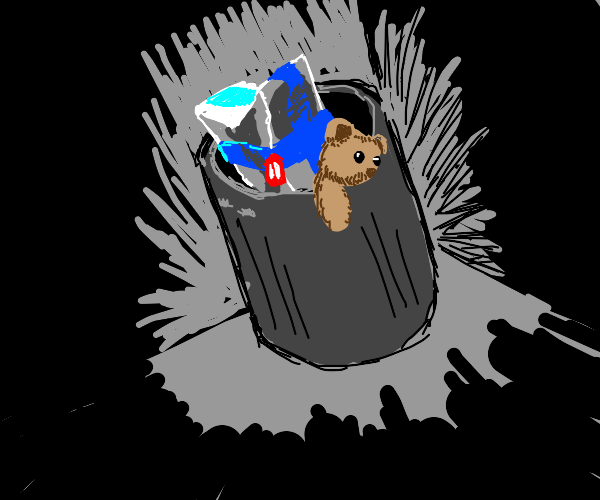 Teddy Bear and Wrapped Gift in Trash Can