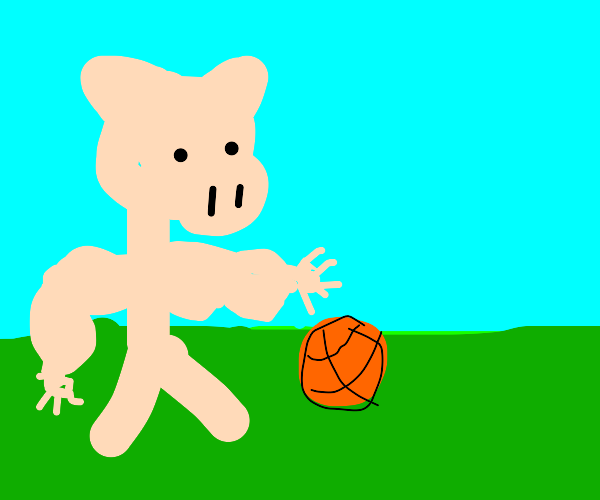 Pig man has small hands & likes to play ball