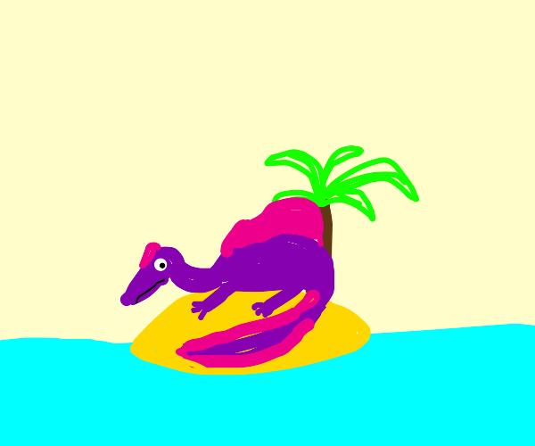 Dinosaur stranded on a tiny island