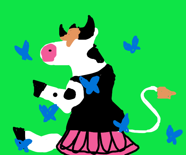 cow ballerina surrounded by blue butterflies