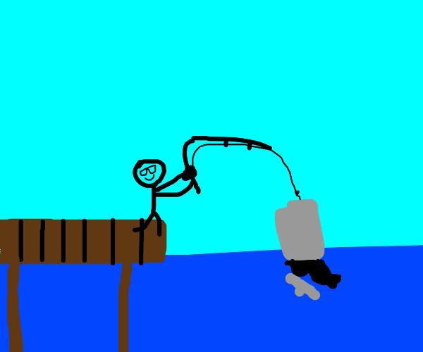 man fishes garbage