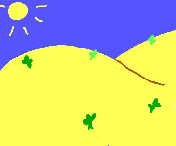 beautiful drawing of a desert plain