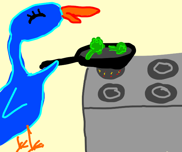 Cozy looking bird is making broccoli in pan