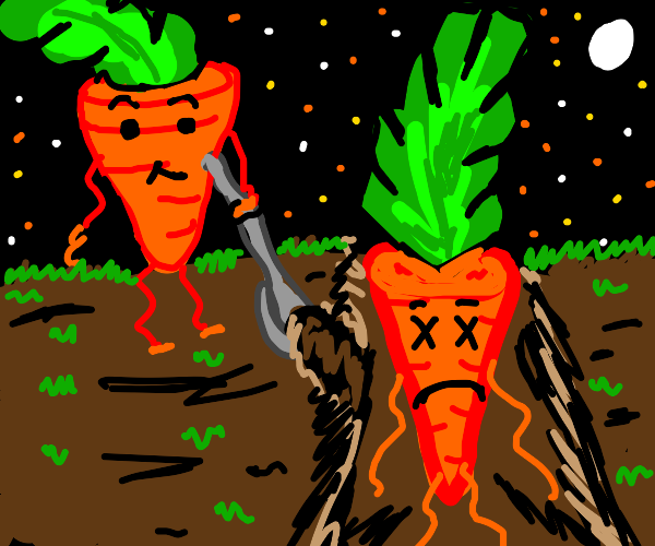 carrot burries his dead carrot friend