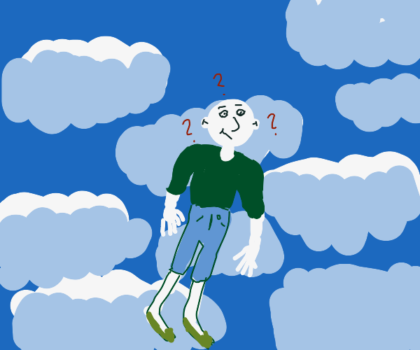 person bald and in sky, confused