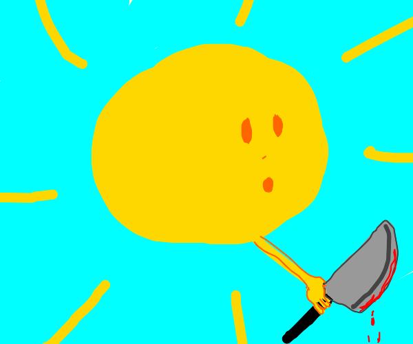 The golden sun wields a bloody machete
