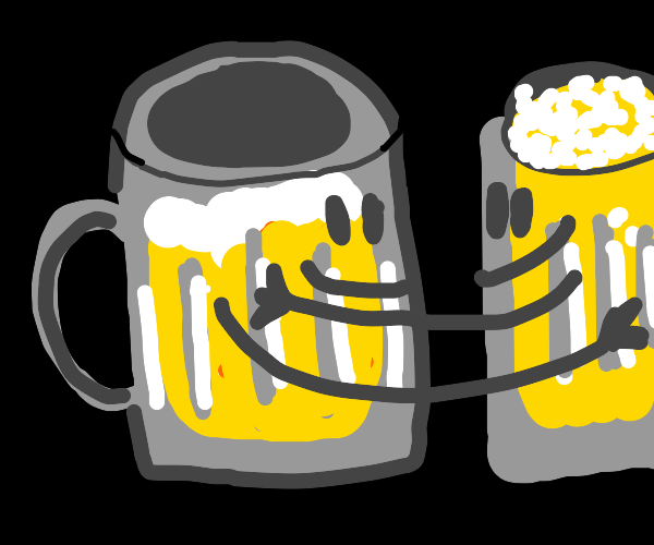 two mugs of beer hug