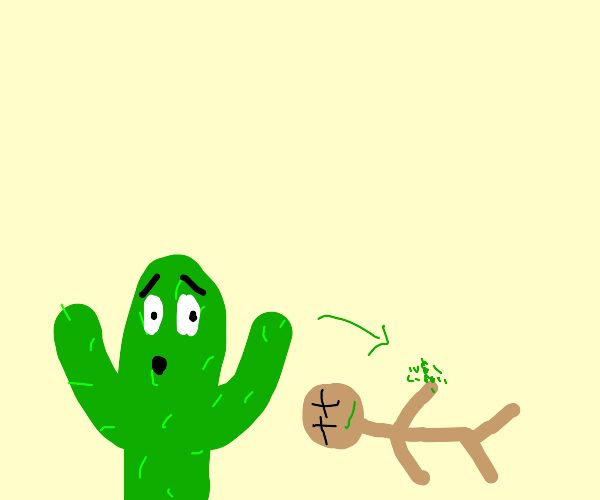 Creeper gets prickled by cactus