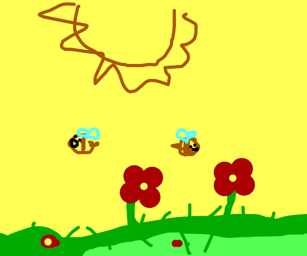 flowers and bees on a sunny day