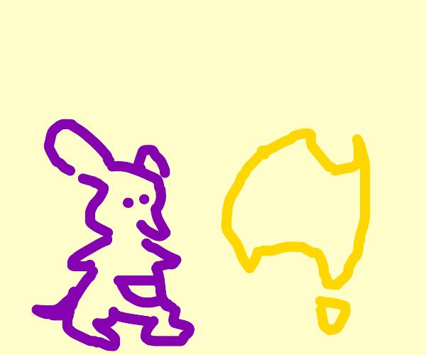A purple kangaroo