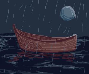 a boat in the rain
