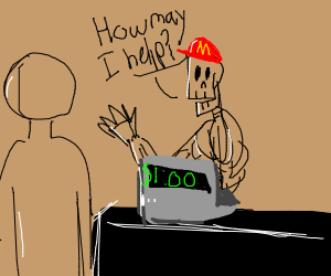 skeleton working at mcdonalds