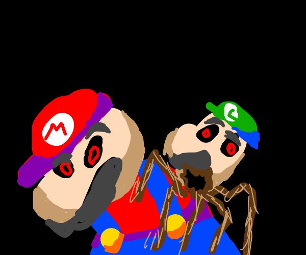 Mario with a Luigi head parasite on his neck