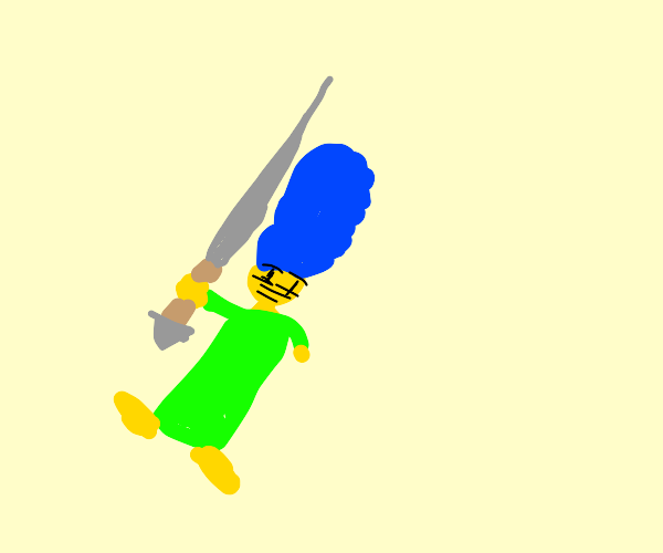 Marge Simpson with a sword