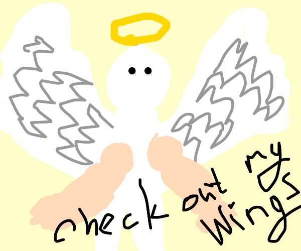 buff angel showing off his wings