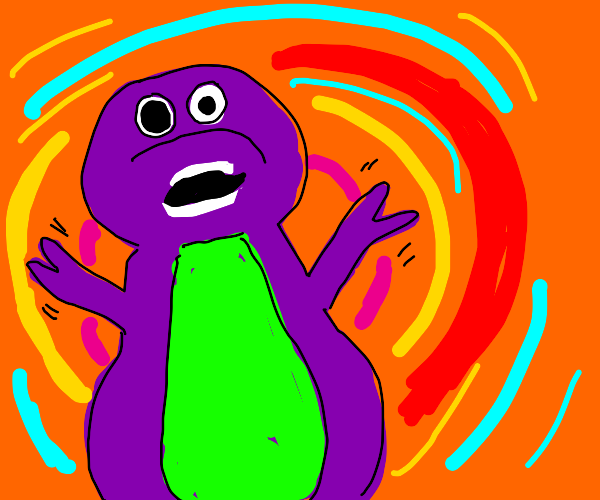 Barney the Dino is clearly on drugs.