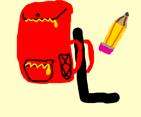 L with a backpack and a giant pencil