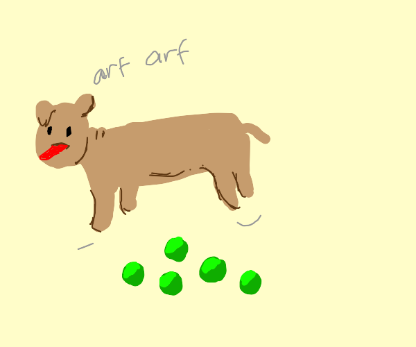 Doggy jumping over Peas