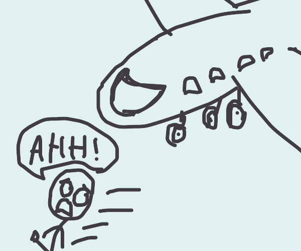 person running from a plane