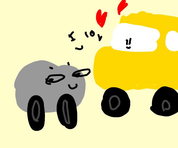 Schoolbus loves silver car