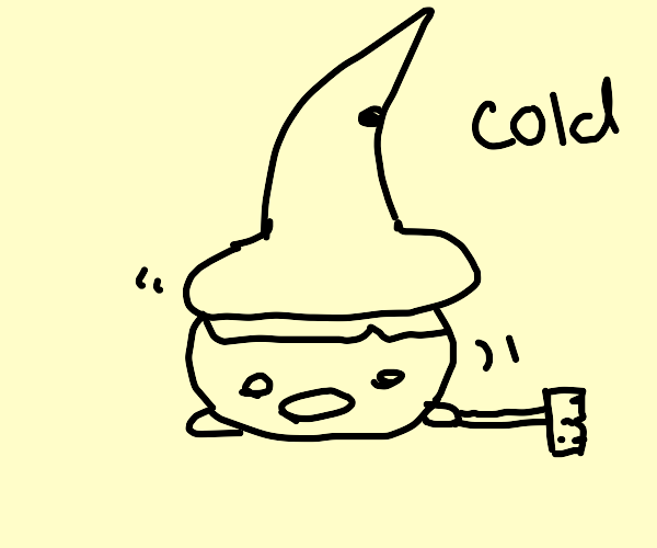Witch is shivering, holding a broom