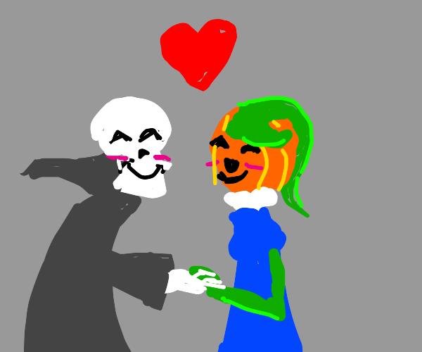 Grim has a pumpkin friend