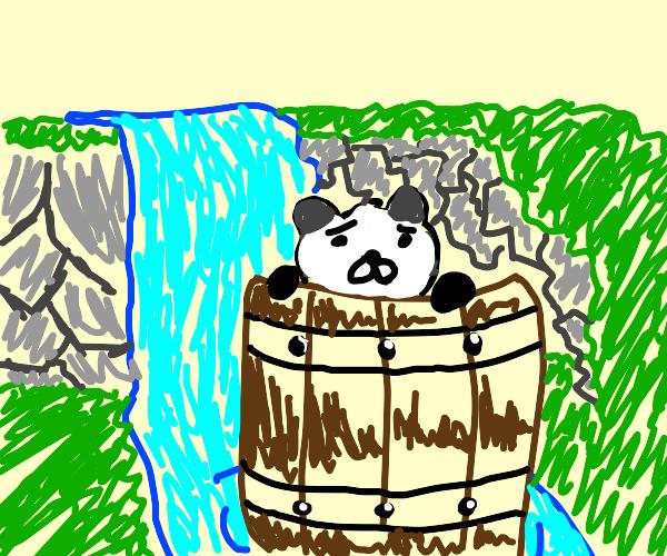 panda-barrel swept down a waterfall