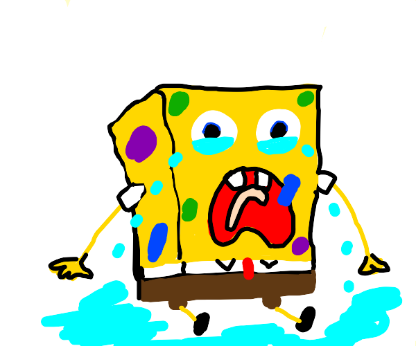 Spongebob covered in paint crying