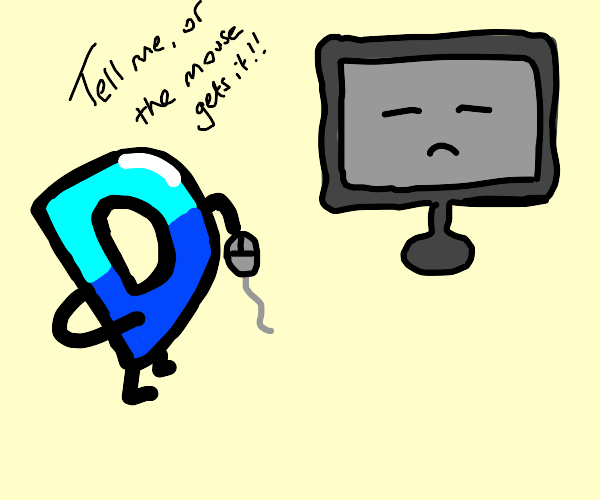 Drawception Icon demanding answers from a PC