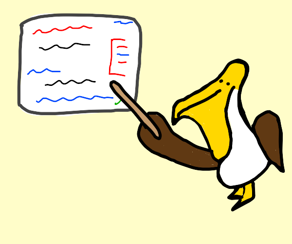 Pelican giving its lecture