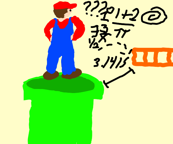 Mario questioning the platform on green pipe