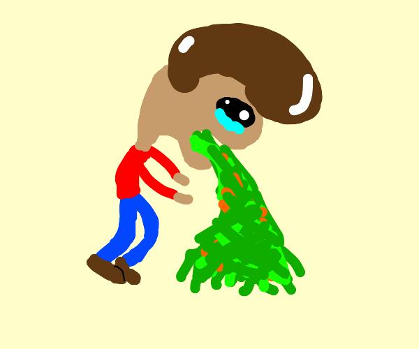 Man puking