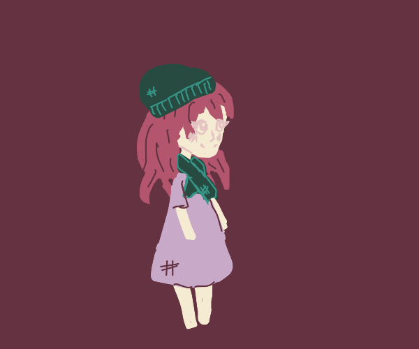 Anime girl wearing a scarf and hat.